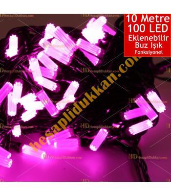 Yılbaşı Işığı Eklenebilir Siyah Kablo 10 Metre 100 Buz Led Pembe Işık