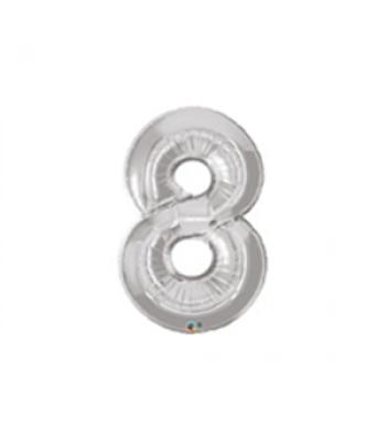 Toptan Gümüş Rakam 8 Folyo Balon 16 inc