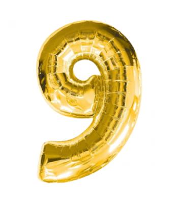Toptan Gold Rakam 9 Folyo Balon 16 inc