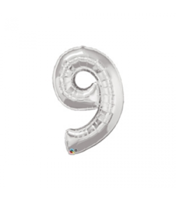 Toptan Gümüş Rakam 9 Folyo Balon 16 inc
