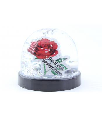 Sevgililer günü hediye sulu küre güllü yazılı 5,5 cm