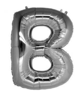 Toptan Gümüş Harf B Folyo Balon 16 inc