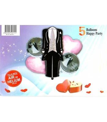 Toptan Damat Folyo Balon 5 li Set