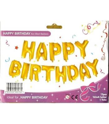 Gold Happy Birthday Folyo Balon 16 inc