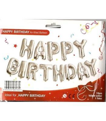 Gümüş Happy Birthday Folyo Balon 16 inc