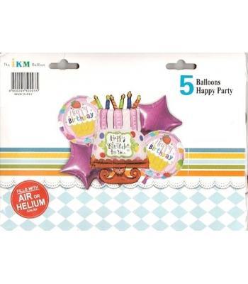Toptan Happy Birth Day Folyo Balon 5 li Set