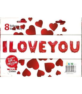 Toptan I Love You Folyo Balon 16 inc