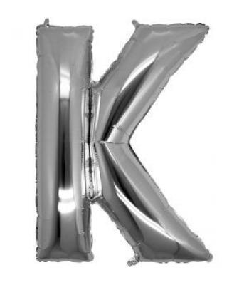 Toptan Gümüş Harf K Folyo Balon 16 inc