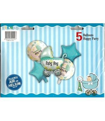 Toptan Mavi Baby Folyo Balon 5 li Set
