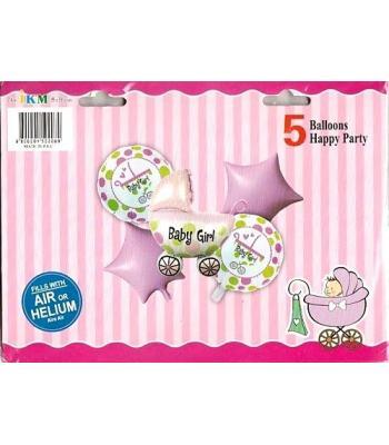 Toptan Pembe Baby Folyo Balon 5 li Set
