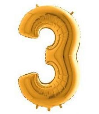 Toptan Gold Rakam 3 Folyo Balon 16 inc