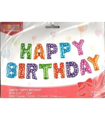Toptan Renkli Happy Birthday Folyo Balon 16 inc