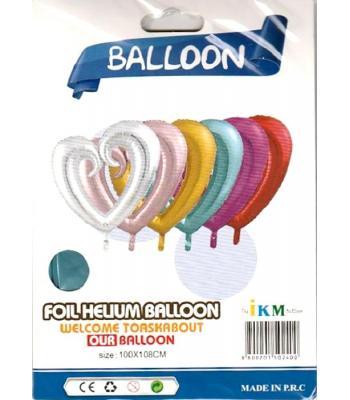 Toptan Renkli Kalp Mavi Folyo Balon
