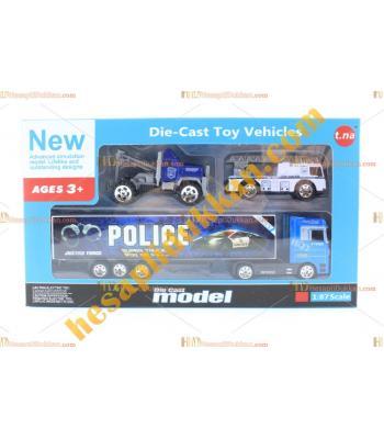 Toptan promosyon oyuncak polis tır kurtarma çekici set