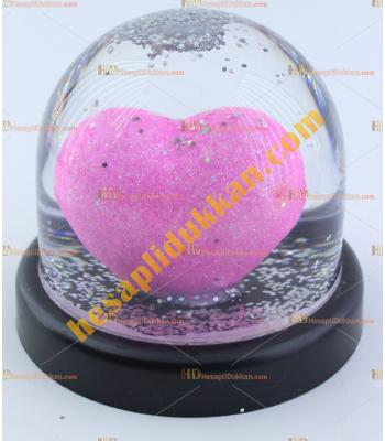 Sevgililer günü hediyelik eşya sulu kalp küre Pembe 8 cm