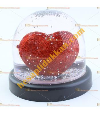 Sevgililer günü hediyelik eşya sulu kalp küre kırmızı 8 cm