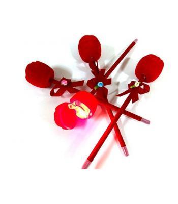 Toptan Işıklı Gül Promosyon Kalem Kırmızı Kadife