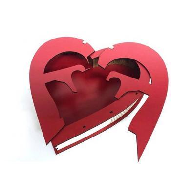 Toptan Ahşap Kırmızı Kalp Tasarımlı Sevgiliye Hediye Kutusu