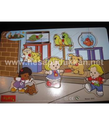 Ahşap oynayan bebekler zeka geliştirici oyuncak P345