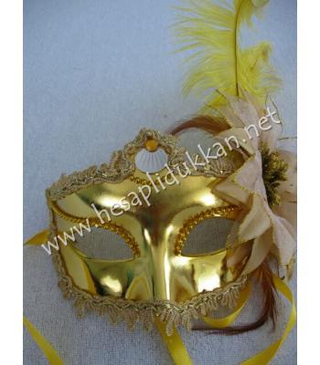 Altın sarısı işlemeli Simli büyük çiçekli tüylü maske P774