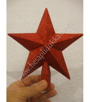 Kırmızı yıldız yılbaşı ağacı tepe süsü P965