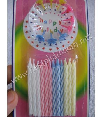 Kartlı 24 lü doğum günü pasta mumu P788