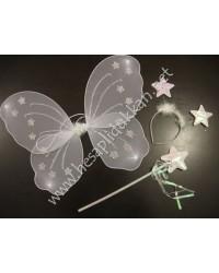 Kelebek kanat set sihirli çubuk taç ve kanat P878