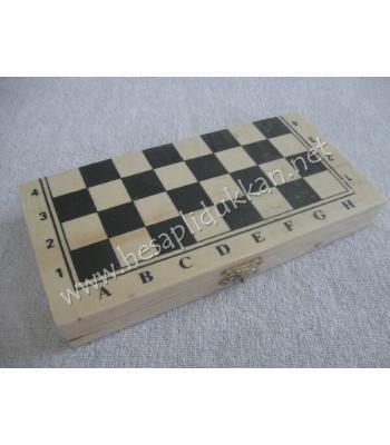 Mini ahşap portatif satranç P793
