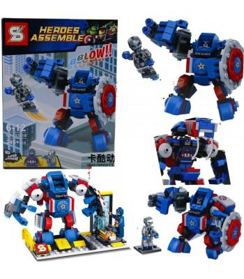 Promosyon oyuncak 246 parça robot lego kahramanlar kaptan amerika