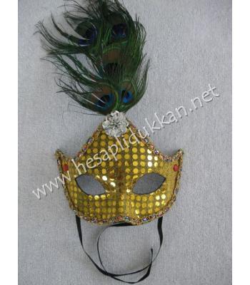 Sarı pullu alın tüylü parti maskeleri P858