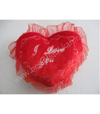 Tüllü i love you yazılı kalp yastık sevgililer günü hediyesi R34