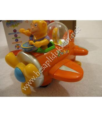 Trampetli maymunlu uçak ışıklı oyuncak P895