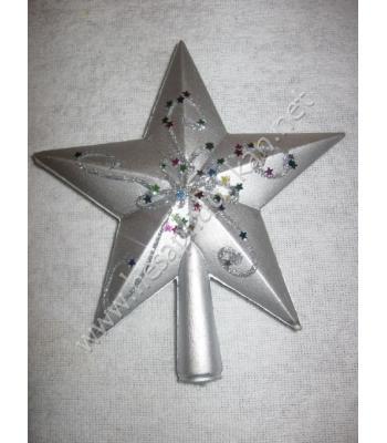 Yılbaşı ağacı tepesi süsü gümüş yıldız P943