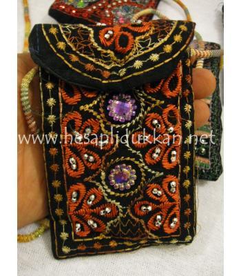 İşlemeli el cüzdanı askılı cep telefonluk P420