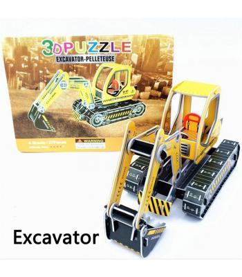 Toptan karton 3d puzzle excavator kepçe 32 parça