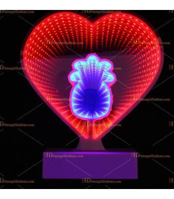 Toptan 3D tünel lamba kalp ananas