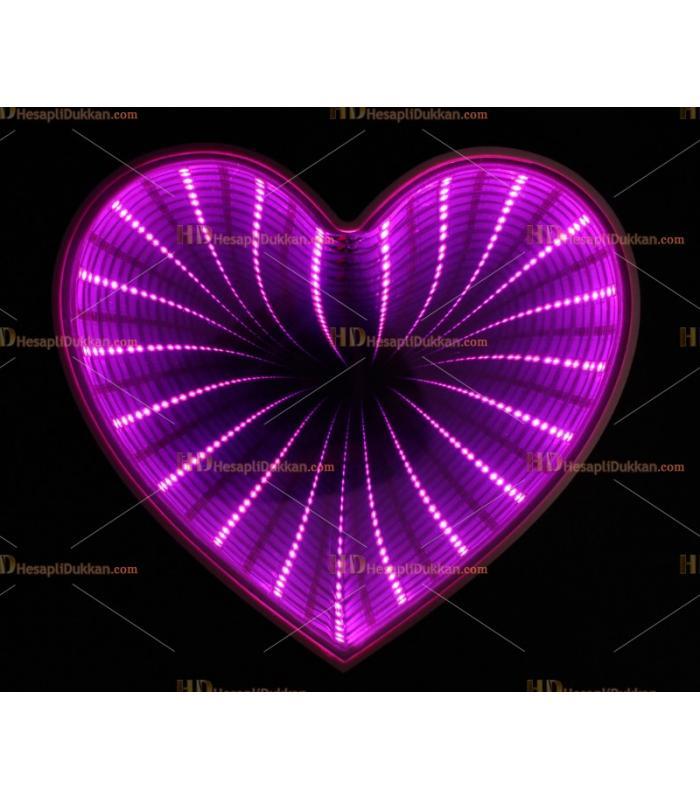 Toptan 3D Tünel lamba mor kalp
