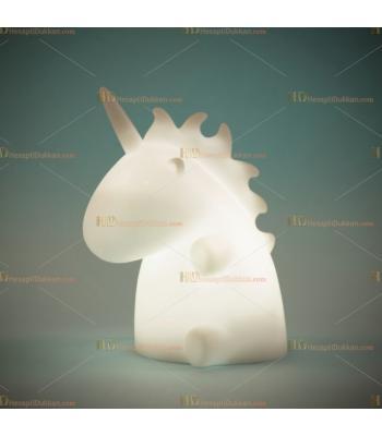 Toptan şirin unicorn ejderha gece lambası beyaz