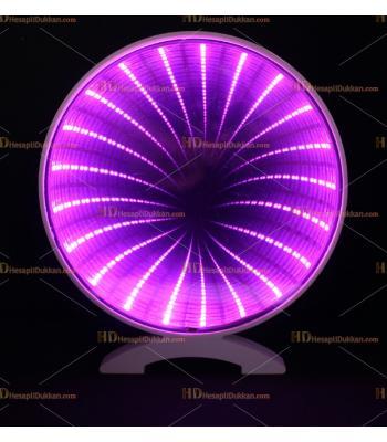 Toptan 3D tünel Masa üstü  Dekoratif gece lambası yuvarlak lila