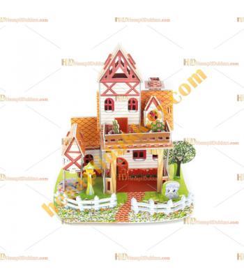 Toptan 3d karton puzzle yazlık villa