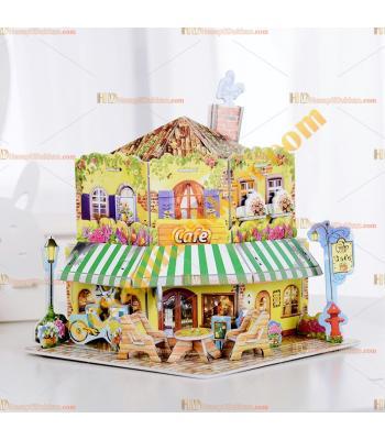 Toptan 3d karton puzzle cafe 36 parça