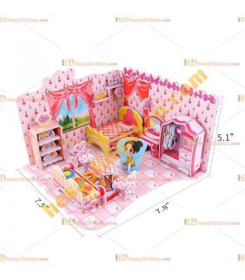 Toptan 3d karton puzzle şirin yatak odası 78 parça