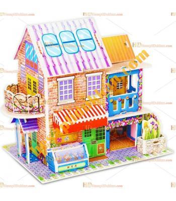 Toptan 3d puzzle çiftlik evi 4 karton 46 parça