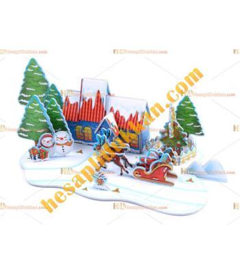 Toptan 3d puzzle merry christmas 4 karton 33 parça