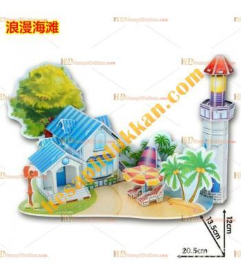 Toptan 3d puzzle romantik sahil evi 4 karton 39 parça