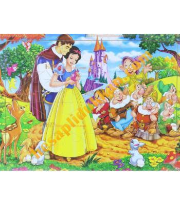 Toptan Ahşap puzzle pamuk prenses yedi cüceler