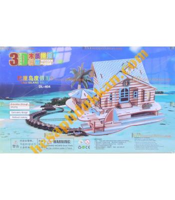 Toptan 3d Ahşap puzzle bali adası evi