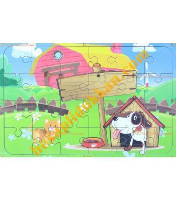 Toptan  Ahşap puzzle köpek kulübesi