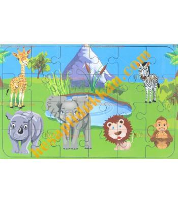 Toptan  Ahşap puzzle orman hayvanları