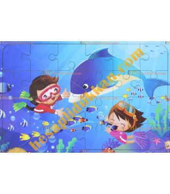 Toptan Ahşap puzzle dalgıç bebekler